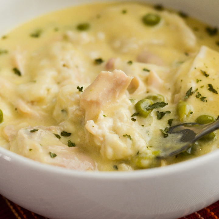 Slow Cooker Chicken and Dumplings with Biscuits