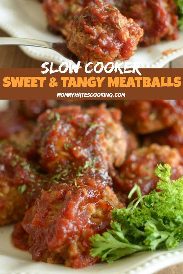 slow cooker tangy meatballs