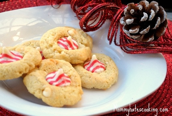 White Chocolate Candy Cane Kisses Cookies With Truvia