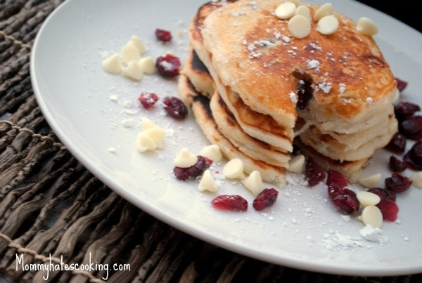 white chocolate cranberry pancakes