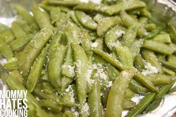 steamed snap peas