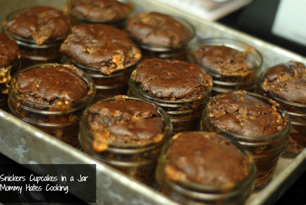snickers cupcakes in a jar