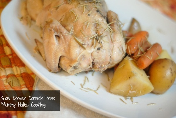 slow cooker rosemary cornish hens