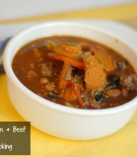 slow cooker bean and veggie soup
