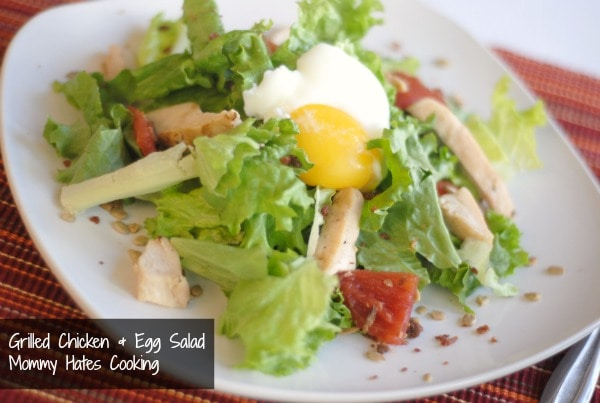 Poached Egg Chicken Salad with Bacon - Mommy Hates Cooking