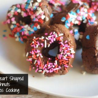 baked heart shaped chocolate doughnuts