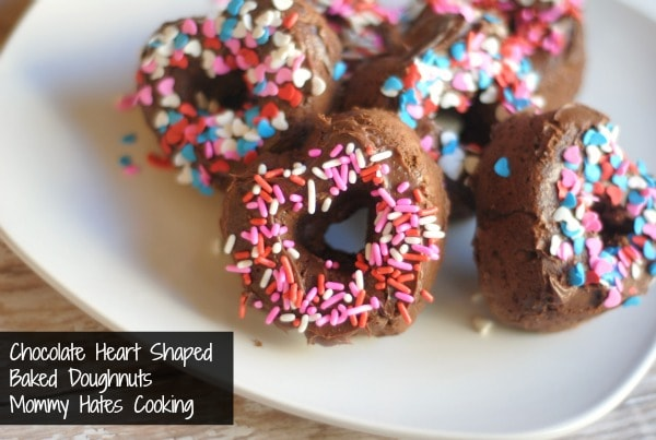 baked heart shaped chocolate doughnuts