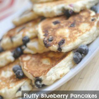 Fluffy Blueberry Pancakes {Gluten Free Optional}