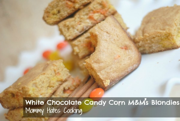 White Chocolate Candy Corn M&M's Blondies - Mommy Hates ...