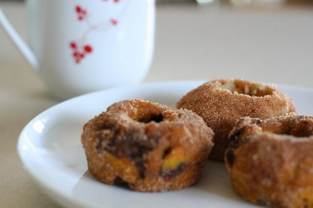 Pumpkin Chocolate Chip Doughnuts
