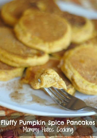 Fluffy Pumpkin Pancakes {Gluten Free Optional} - Mommy Hates Cooking