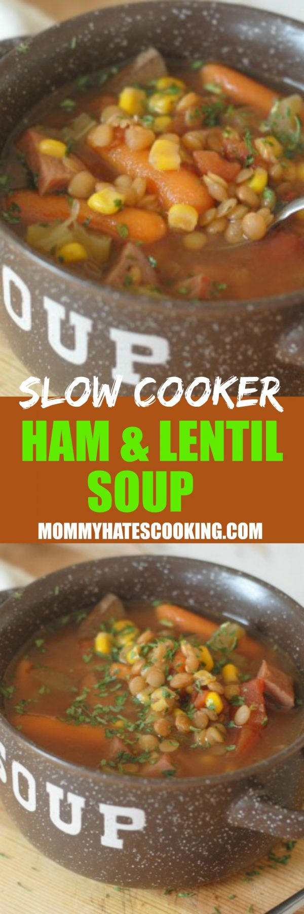 SLOW COOKER HAM AND LENTIL SOUP
