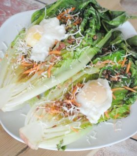 Grilled Romaine with Poached Eggs