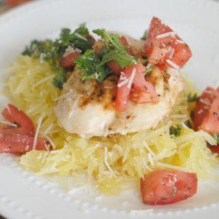 Bruschetta Chicken with Spaghetti Squash