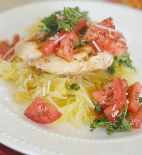 Chicken Bruschetta with Spaghetti Squash