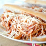 Spaghetti & Steak Sub Sandwiches I Mommy Hates Cooking #NewTraDish #Sponsored #Socialstars
