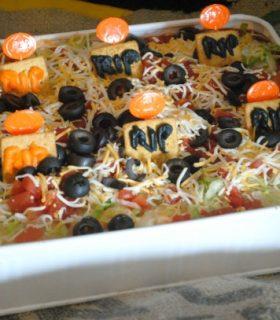 Graveyard Bean Dip & Spooky Snacks Halloween Party