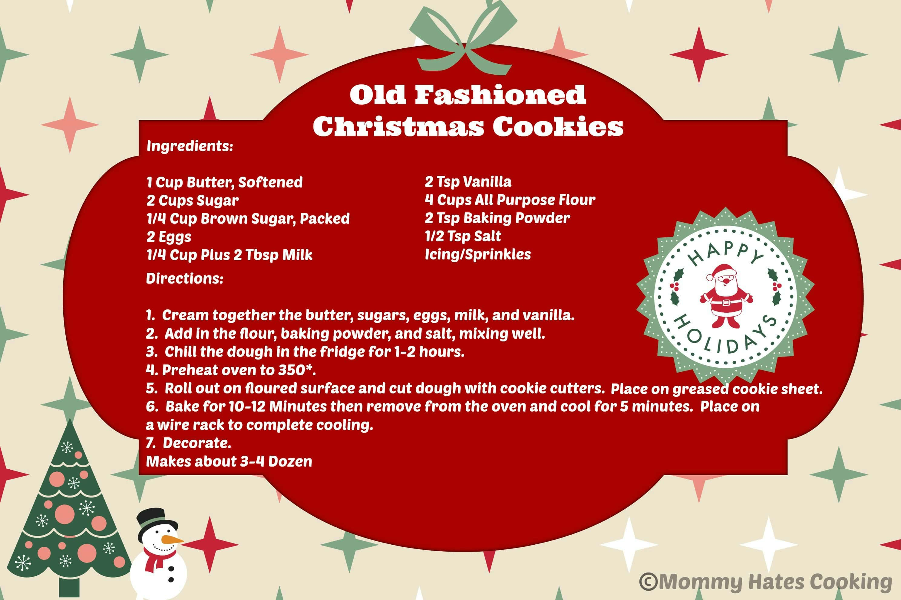 old fashioned christmas cookies printable i mommy hates cooking