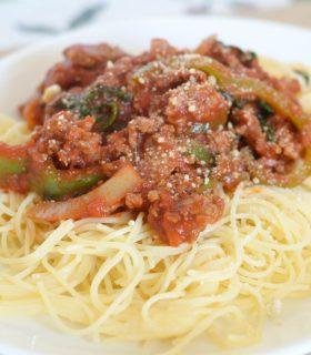 Loaded Italian Sausage Spaghetti