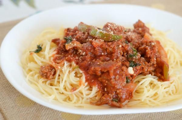 Loaded Italian Sausage Spahgetti #JohnsonvilleKitchens #Sponsored