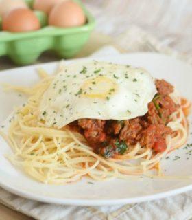 Egg Topped Meaty Spaghetti