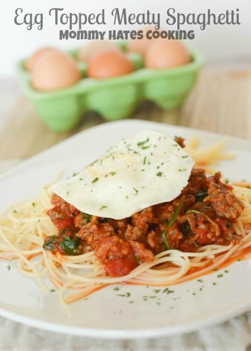 Egg Topped Meaty Spaghetti #GreatDayFarms #Spon