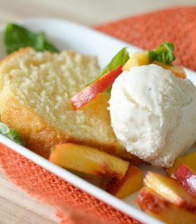 Breyers Pound Cake & Peaches Sundae