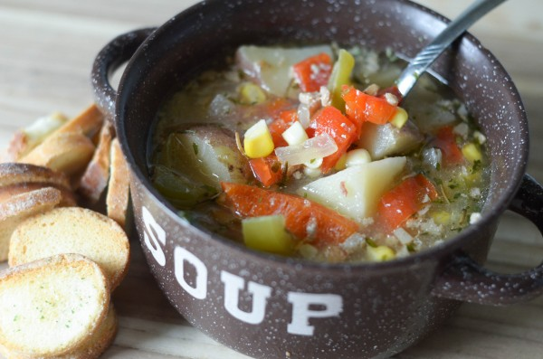 Slow Cooker Summer Vegetable Soup #SwansonSummer #ad