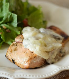 Garlic Rosemary Seared Salmon with White Wine Sauce