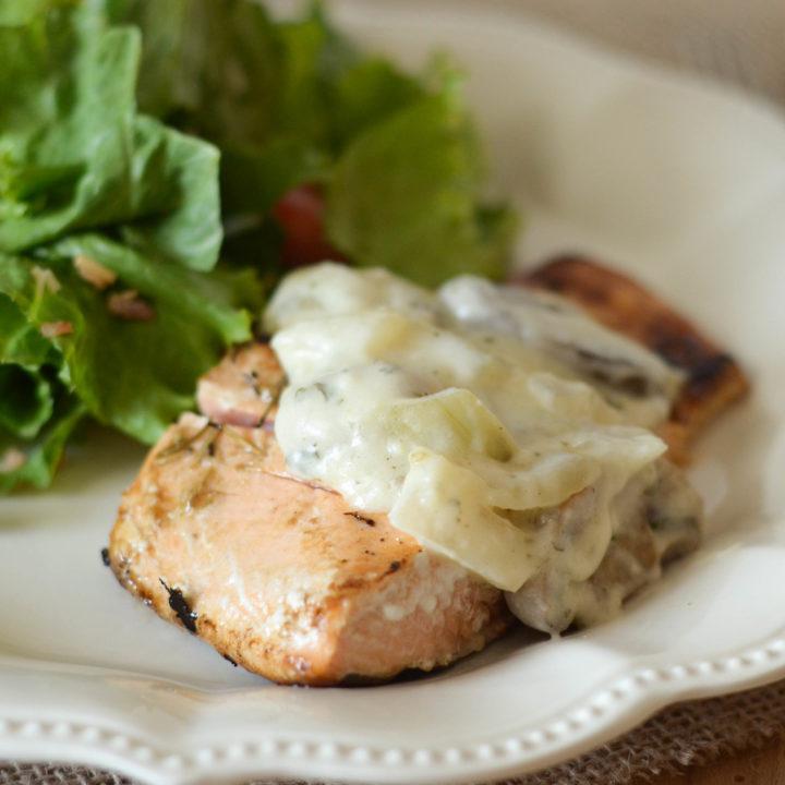 Garlic Rosemary Seared Salmon with White Wine Sauce