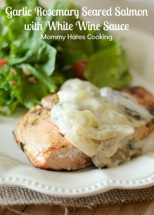 Garlic Rosemary Seared Salmon with White Wine Sauce #FrozentoFork #ad
