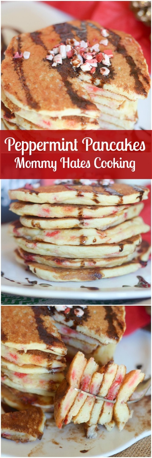 Peppermint Pancakes - A delicious recipe to start off a holiday breakfast or brunch. #DairyPure (ad)