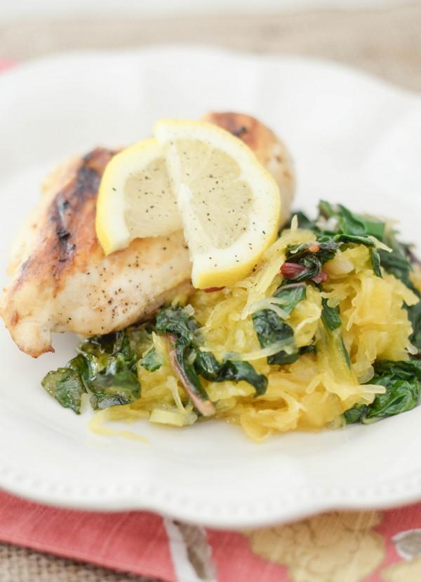 Lemon Pepper Chicken with Spaghetti Squash & Rainbow Chard #Sponsored #ProduceGathering