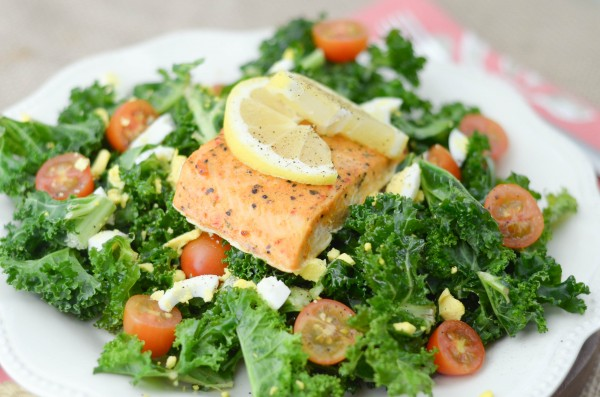 Lemon Tossed Kale Salad with Salmon #GoGortons #ad