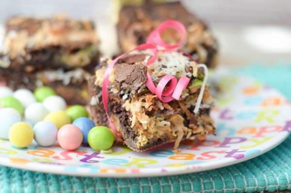 Toasted Coconut Peanut Butter Brownies #HersheysEaster #ad