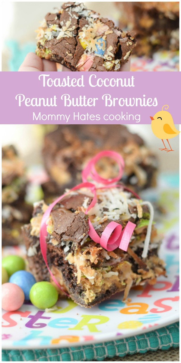 Toasted Coconut Peanut Butter Brownies #HersheysEaster #ad
