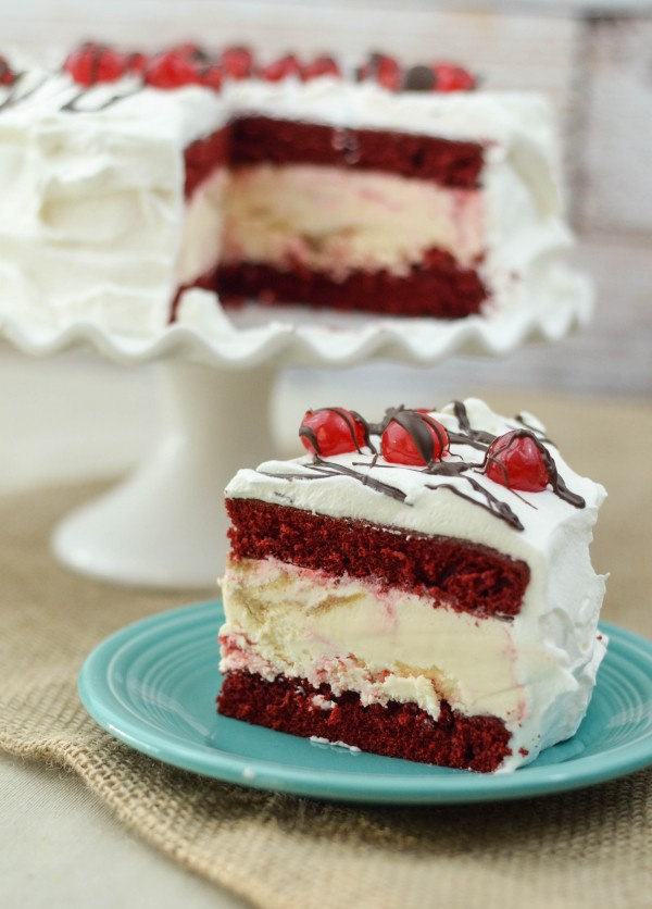 Cherry Cheesecake Ice Cream Cake #SoHoppinGood #ad