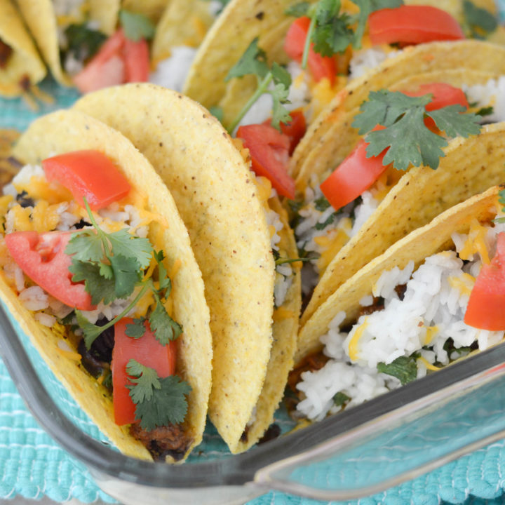 Baked Black Beans & Rice Tacos