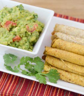 Simple Guacamole Recipe & Taquitos