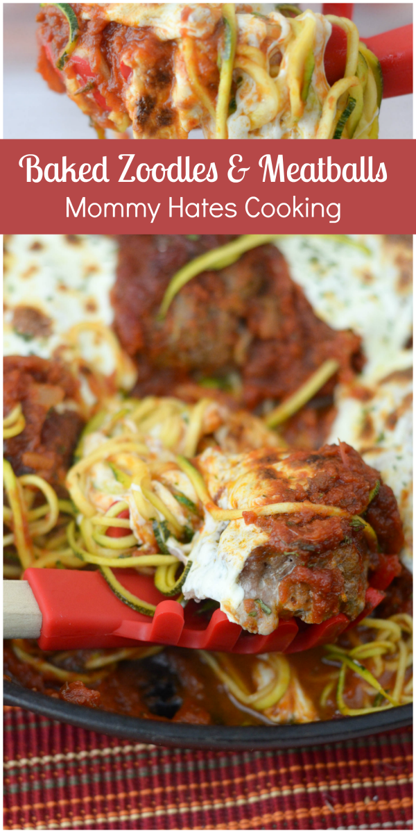 Baked Zoodles & Meatballs #ad