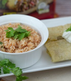 Homemade Mexican Rice with Chimichangas and Burritos