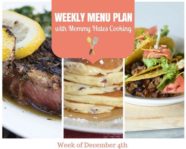 Weekly Menu Plan - Week of December 4th