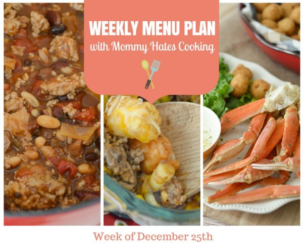 Weekly Menu Plan - Week of December 25th
