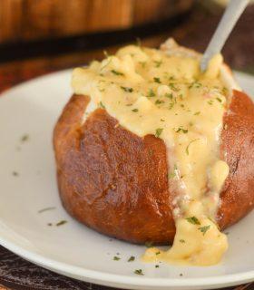 Loaded Potato Soup in a Pretzel Bowl