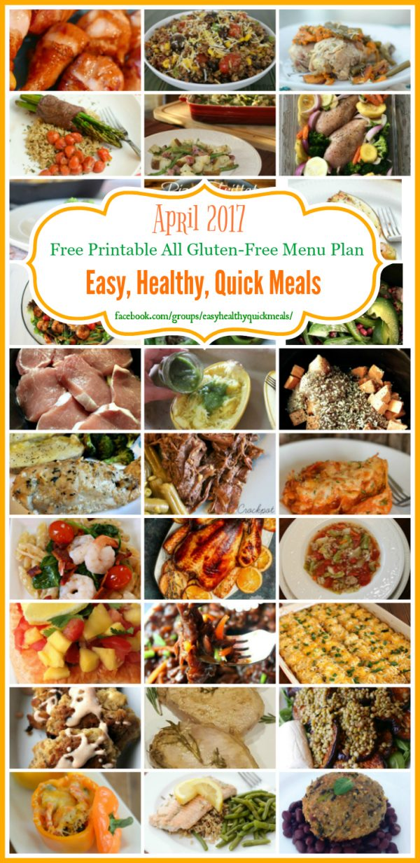 Gluten-Free Easy, Healthy, & Quick Monthly Menu Plan