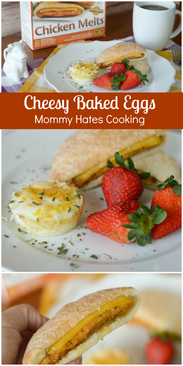 Cheesy Baked Eggs with Chicken Melts