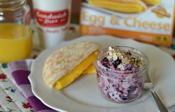 Yogurt Fruit Salad with Egg & Cheese Sandwiches AD