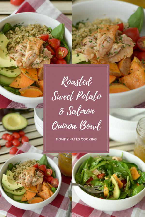 Roasted Sweet Potato & Salmon Quinoa Bowl #TrendingintheKitchen AD