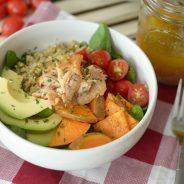Roasted Sweet Potato & Salmon Quinoa Bowl