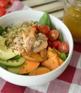 Roasted Sweet Potato & Salmon Quinoa Bowl